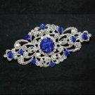 WEDDING BRIDAL RHINESTONE DRESS SASH VINTAGE ROYAL BLUE RHOMBUS BROOCH PIN