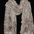 VINTAGE WOMEN STYLE FLORAL FLOWER LACE TASSEL WEDDING WRAP SHAWL SCARF