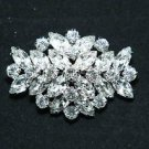 WEDDING BRIDAL RHINESTONE HAIR DRESS SASH BUCKLE SILVER RHOMBUS BROOCH PIN