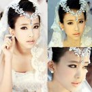 WEDDING BRIDAL RHINESTONE CRYSTAL FAUX PEARL HAIR CHAIN CLIP EARRINGS NECKLACE