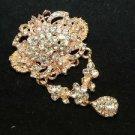 RHINESTONE CRYSTAL BRIDAL WEDDING DRESS GOLD DANGLE VINTAGE STYLE BROOCH PIN