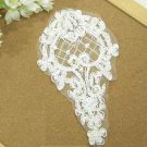 LOT OF 2 WEDDING CRAFT EMBROIDERY BEADED ROSE APPLIQUE OFF WHITE APPLIQUE