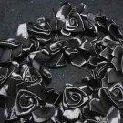 BLACK WEDDING CRAFT SATIN DRESS FLOWER FLORAL MOTIF LONG TRIM - 1 YARD