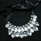 CLEAR GLASS RHINESTONE BLACK RIBBON BIB NECKLACE COLLAR
