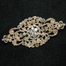 WEDDING BRIDAL RHINESTONE HAIR DRESS SASH BUCKLE GOLD RHOMBUS BROOCH PIN