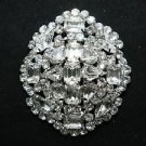 OVAL VINTAGE STYLE RHINESTONE CRYSTAL BRIDAL WEDDING JEWELRY OVAL BROOCH PIN