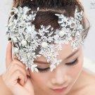 BRIDAL WEDDING FOREHEAD RHINESTONE CRYSTAL TIARA HAIR HEADBAND LACE APPLIQUE