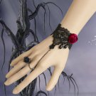 GOTH BLACK LACE APPLIQUE ROCOCO ROSE SLAVE BRACELET WITH COPPER RING