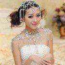 BRIDAL WEDDING RHINESTONE CRYSTAL IVORY FAUX PEARL DROPLET HAIR CHAIN HEAD CAP