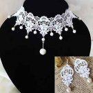Off White Lace Gothic Choker Necklace Earrings Victorian Bridal Wedding Party