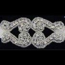 GLASS IRON/ SEW BEADED CRYSTAL RHINESTONE WEDDING EMBROIDED VINTAGE APPLIQUE