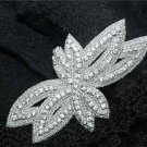 BEADED GLASS CRYSTAL RHINESTONE WEDDING CRAFT SASH LEAF APPLIQUE