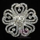 "2.6"" CZECH RHINESTONE CRYSTAL WEDDING CAKE BRIDAL HEART FLOWER FLORAL BROOCH PIN"