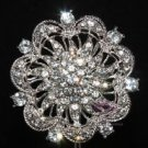 RHINESTONE CRYSTAL BRIDAL WEDDING CAKE FLOWER BOUQUET CLUSTER SILVER BROOCH PIN