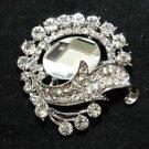 VINTAGE STYLE CRYSTAL ROUND FLORAL WEDDING BRIDAL PENDANT SASH BROOCH PIN