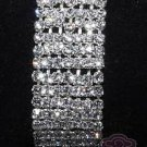 LOT OF 4 RHINESTONE CRYSTAL 7 ROWS WEDDING BRIDAL ELASTIC BANGLE BRACELET CUFF