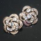 LOT OF 6 WEDDING DECORATION SILVER/GOLD RHINESTONE CRYSTAL FLOWER ROSE BUTTONS