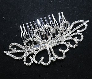 ABSTRACT BRIDAL WEDDING BRIDES SILVER RHINESTONE CRYSTAL TIARA HAIR COMB