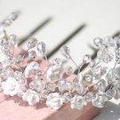 RHINESTONE CRYSTAL WEDDING BRIDAL BRIDE CLAY FLORAL HEADBAND