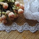 BEADED PEARL WEDDING CRAFT EMBROIDERY WHITE APPLIQUE MOTIF LACE TRIM 1 YARD