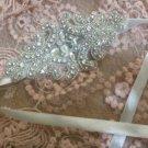 IVORY RIBBON HEADBAND BEADED GLASS CRYSTAL RHINESTONE WEDDING HAIRBAND