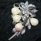 RHINESTONES CRYSTAL BRIDAL WEDDING FAUX PEARL PENDANT BROOCH PIN