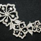 3 FLOWERS BRIDAL DRESS FLOWERS CRYSTAL RHINESTONE BROOCH PIN