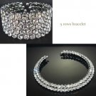 WEDDING BRIDAL ROWS BIG RHINESTONE CRYSTAL CHOKER NECKLACE BRACELET CUFF SET
