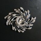PEACOCK CLEAR RHINESTONE CRYSTAL WEDDING BRIDAL SILVER TONE BROOCH PIN