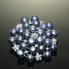 FRESHWATER PEARL RHINESTONE CRYSTAL WEDDING BRIDAL HAIR CRAFT BROOCH PIN