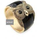 FASHION BLACK ENAMEL OWL GOLD COPPER WAIST CUFF BRACELET BANGLE