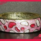 ETHNIC AISAN ENAMEL PINK GOLD  COPPER WAIST CUFF BRACELET BANGLE