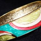 ETHNIC AISAN ENAMEL CYAN PINK GOLD  COPPER WAIST CUFF BRACELET BANGLE