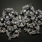 LOT OF 4 WEDDING BRIDAL RHINESTONE DRESS SASH BUCKLE SILVER SYMMETRY BROOCH PIN