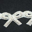 10 PIECE BOW IRON/ SEW BEADED CRYSTAL RHINESTONE WEDDING DRESS BOW APPLIQUE