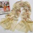 YELLOW CREAM FLORAL SILK STOLE SHRUG WRAP SHAWL SCARF