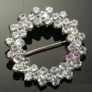 RHINESTONE CRYSTAL WEDDING BRIDAL CIRCLE RING DRESS BELT SASH BROOCH PIN