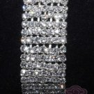RHINESTONE CRYSTAL 7 ROWS WEDDING BRIDAL ELASTIC BANGLE BRACELET CUFF