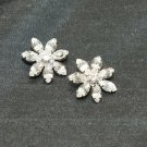 LOT OF 4 SILVER RHINESTONE CRYSTAL SHANK WEDDING FLOWER DRESS CRAFT METAL BUTTON