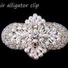 BEADED GLASS CRYSTAL RHINESTONE WEDDING FAUX PEARL HAIR ALLIGATOR CLIP