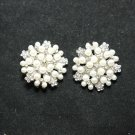 5 PCS SILVER RHINESTONE CRYSTAL SHANK CREAM WHITE PEARL SEW-ON DRESS BUTTONS