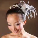 FAUX PEARL BRIDAL WEDDING RHINESTONE BLACK WHITE FEATHER FLOWER TIARA APPLIQUE