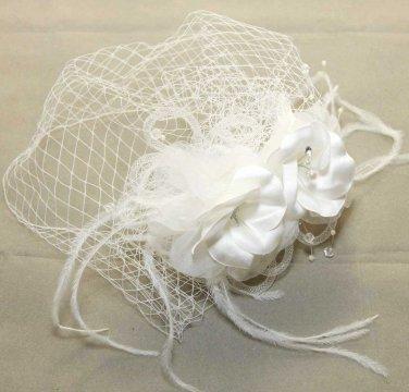 WEDDING BRIDAL RHINESTONE PEARL FLOWERS BRIDCAGE NET VEIL COVER MASK HAIR COMB