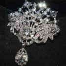 BRIDAL RHINESTONE CRYSTAL DANGLE SILVER SASH DRESS CRAFT HOOK BUTTON/BROOCH PIN