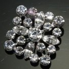 LOT OF 2 RHOMBUS SQAURE CLEAR RHINESTONE CRYSTAL SILVER TONE BUTTONS