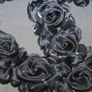 BLACK WEDDING CRAFT ORGANZA DRESS FLOWER FLORAL ELASTIC LONG TRIM - 1 YARD