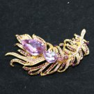 BRIDAL DRESS VINTAGE CRYSTAL RHINESTONE GOLD DRESS FEATHER BUCKLE BROOCH PIN