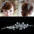 WEDDING BRIDAL PEARL BUTTERFLY FLOWER HEAD RHINESTONE CRYSTAL HAIR CHAIN TIARA