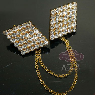 GOLD TONE RHINESTONE CRYSTAL WEDDING SHRUG GUARD SWEATER CHAIN CLIP