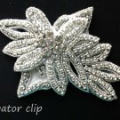 BRIDAL FLORAL DESIGN LEAVES CRYSTAL RHINESTONE WEDDING HAIR ALLIGATOR CLIP